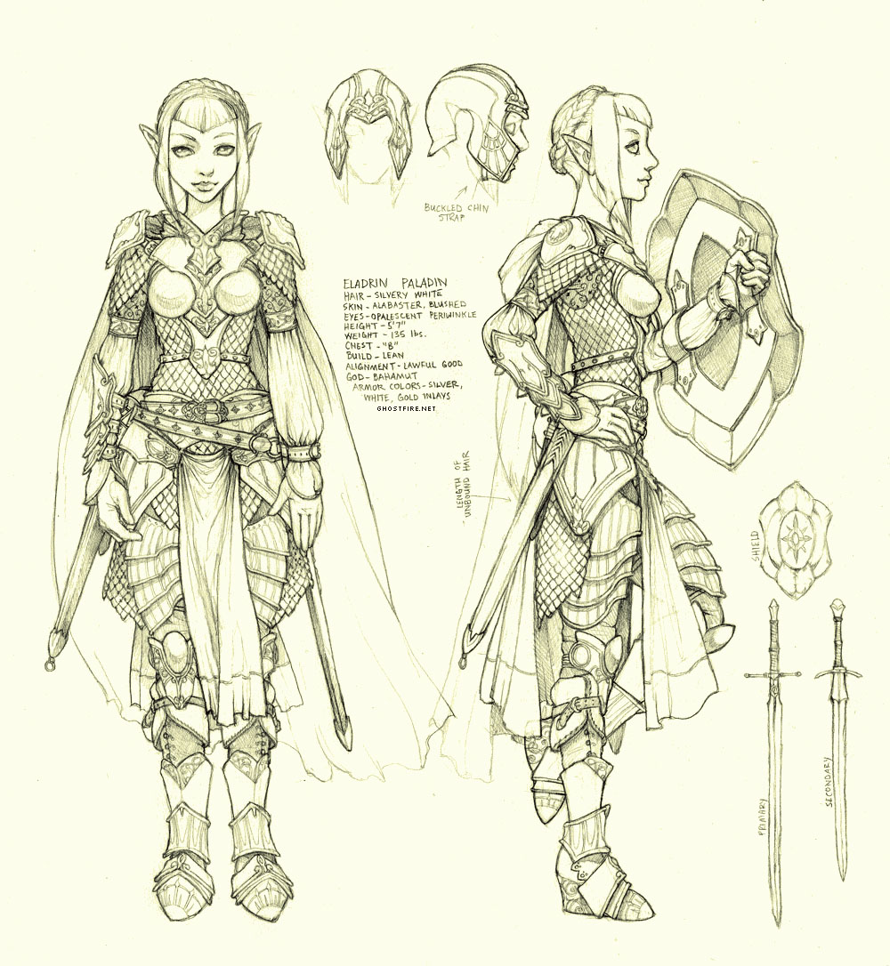 Character Design Personality : Eladrin paladin character design sheet afterimages of