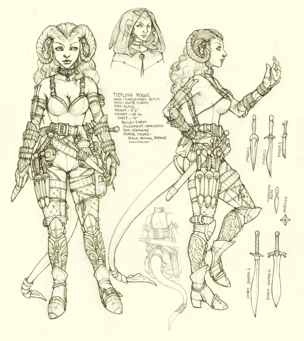 Fantasy Character Design Sheet : Tiefling rogue character design sheet afterimages of